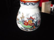 OLD ORIENTAL HANDPAINTED POT VASE LUSTRE TIM PAGODA BRIDGE RICH RUSTS 4.75""